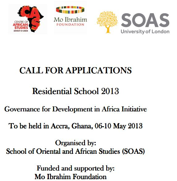Residential School 2013: Governance for Development in Africa Initiative