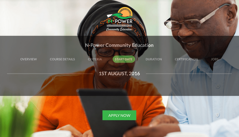 Federal Government of Nigeria N-Power Programme 2016 for