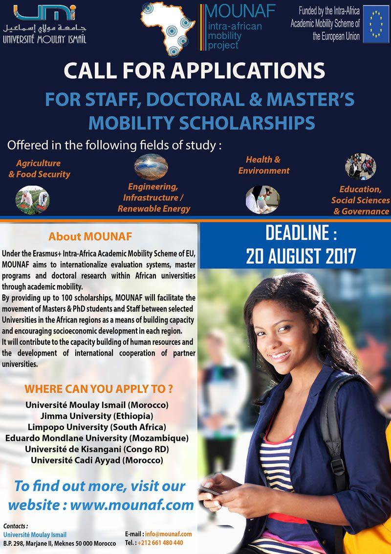 MOUNAF (Mobilité Universitaire en Afrique) Staff, Master's & Doctoral Scholarships 2018 for Africans 2